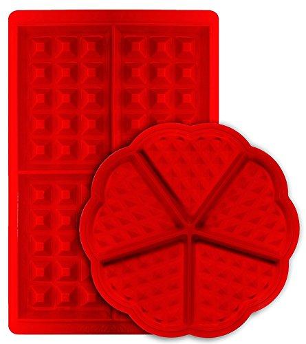 Molde para gofres, mSure de forma rectangular y belga antiadherente de silicona para galletas, galletas de cocina y galletas, juego de 2