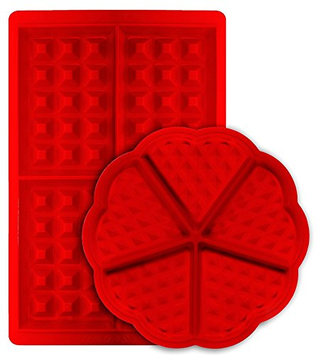 Molde de gofres, mSure con forma rectangular belga y corazón rectangular de silicona antiadherente para galletas de cocina, juego de 2