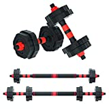 Arespark Adjustable Dumbbell Barbell, 33/55lbs Free Weights Fitness Barbell Set, Detachable Barbell...
