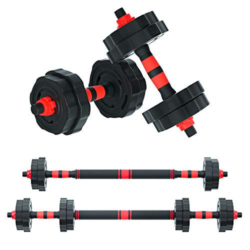 Arespark Adjustable Dumbbells, 33/55lbs Free Weights Fitness Barbell Set, Detachable Barbell Combination Weightlifting 3 in 1 Fitness Equipment with Connecting Rod for Gym Home Office, Anti-Rolling