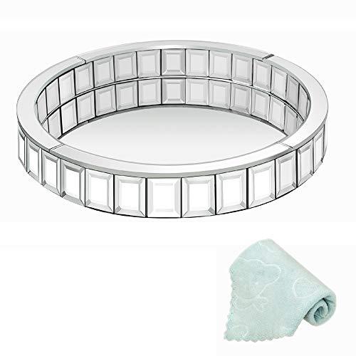 Meetart Rundes 30,5 cm silbernes Mosaik-Spiegel-Organizer, dekoratives Spiegeltablett, Markup Schmucktablett, Silbertablett für Heimdekoration
