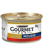 Purina Gourmet Gold Umido Gatto Mousse con Manzo, 24 Lattine da 85 g Ciascuna, Confezione da 24 x 85 g