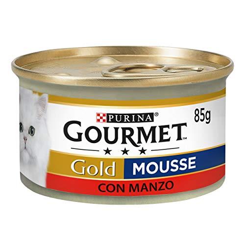Gourmet Purina Gold Nourriture Humide, Mousse pour Chat, au bœuf – 24 boîtes de 85 g chacune (Pack de 24 x 85 g)