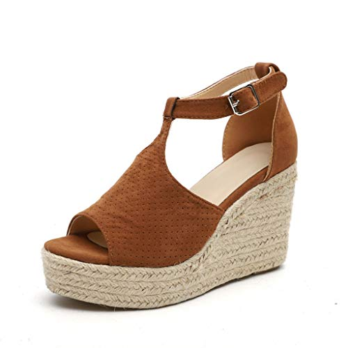 Fannyfuny_Zapatos Mujer Tacon Sandalias Mujer de Verano Zapatos Zapatillas de Cuña Zapatillas Casuales Altas Tacón Cuña Zapatos Fiesta Mujer Sandalias de Tacón Sandalias Mujer Cuña