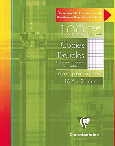 Clairefontaine 582C - Un étui carton 100 pages Copies doubles non perforées 16,5x21 cm 90g petits carreaux avec marge