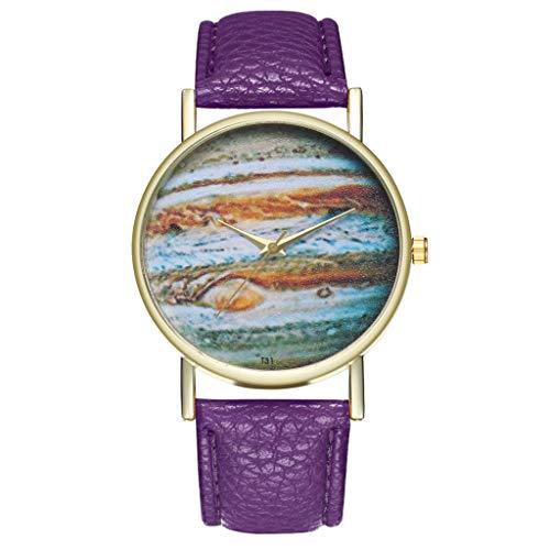 Uhren Fashion Cute Candy Farbe Damen Armbanduhr Kleid Uhr PU Lila 2258 42106