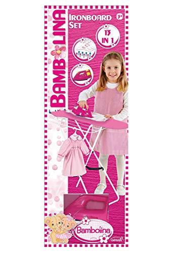 Dimian BD9306-217WB Bügelbrett mit Bügeleisen Bambolina, Set inklusive Zubehör, Rollenspiel für Kinder, 13 teilig, pink