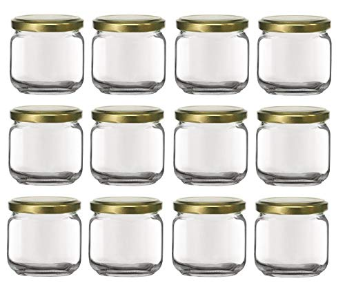 Nakpunar 12 pcs, 6.75 oz Square Glass Jars with Gold Lids - Made in Italy (Gold - 12 Jars)