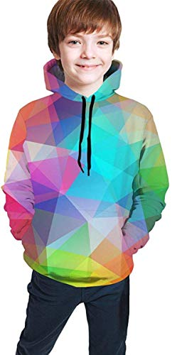EYSKJ Kapuzenpullover Triangles Youth Boys Girls 3D Print Pullover Hoodies Hooded Seatshirts Sweater