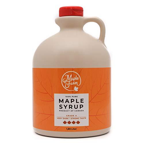 Jarabe de arce Grado A (Very dark, Strong taste) - 1,89 litros (2,5 Kg) - Miel de arce - Sirope de Arce - Original maple syrup