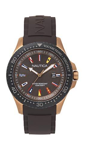 Nautica Men's Jones Beach Stainless Steel Japanese-Quartz Silicone Strap, Black, 22 Casual Watch (Model: NAPJBC007