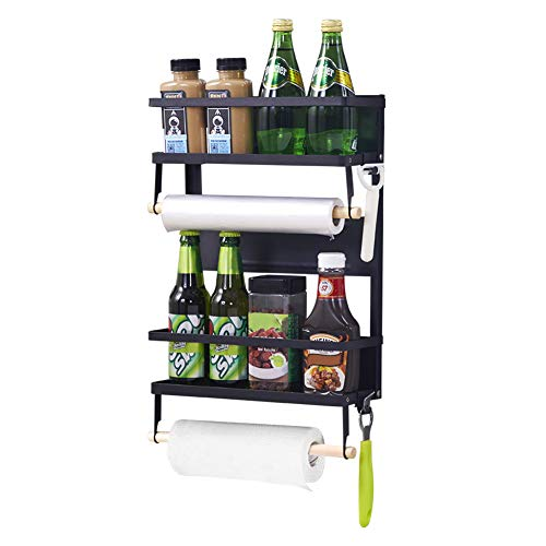 XIAPIA Kühlschrank Hängeregal mit 5 Haken| 2 Magnetische Gewürz Ablagen mit Rollenhalter | Küchen Organizer Aufbewahrung 40.5x34x10 cm Schwarz