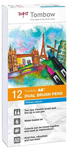 Tombow ABT-12P-1 Lot de 12 Feutres pinceau à 2 pointes, couleurs primaires