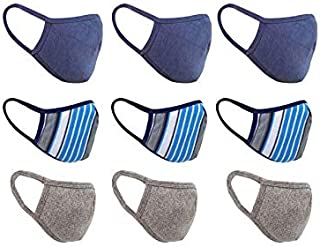 nestroots Cotton Face Mask Pack of 9 Washable Reusable Face Masks  Soft Earloop/Mouth Nose cover Face Masks Men Women Kids Unisex  cover Face Masks (Grey, printed & Navy Blue)