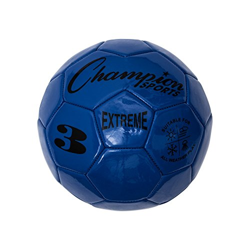 Champion Sports Extreme Series Soccer Ball, Size 3 - Youth League, All Weather, Soft Touch, Maximum Air Retention - Kick Balls for Kids Under 8 - Competitive and Recreational Futbol Games, Blue