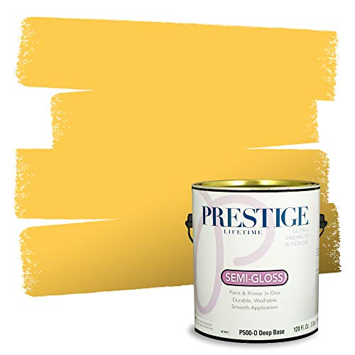 Prestige Paints Interior Paint and Primer In One, 1-Gallon, Semi-Gloss, Comparable Match of Sherwin Williams* Decisive Yellow*