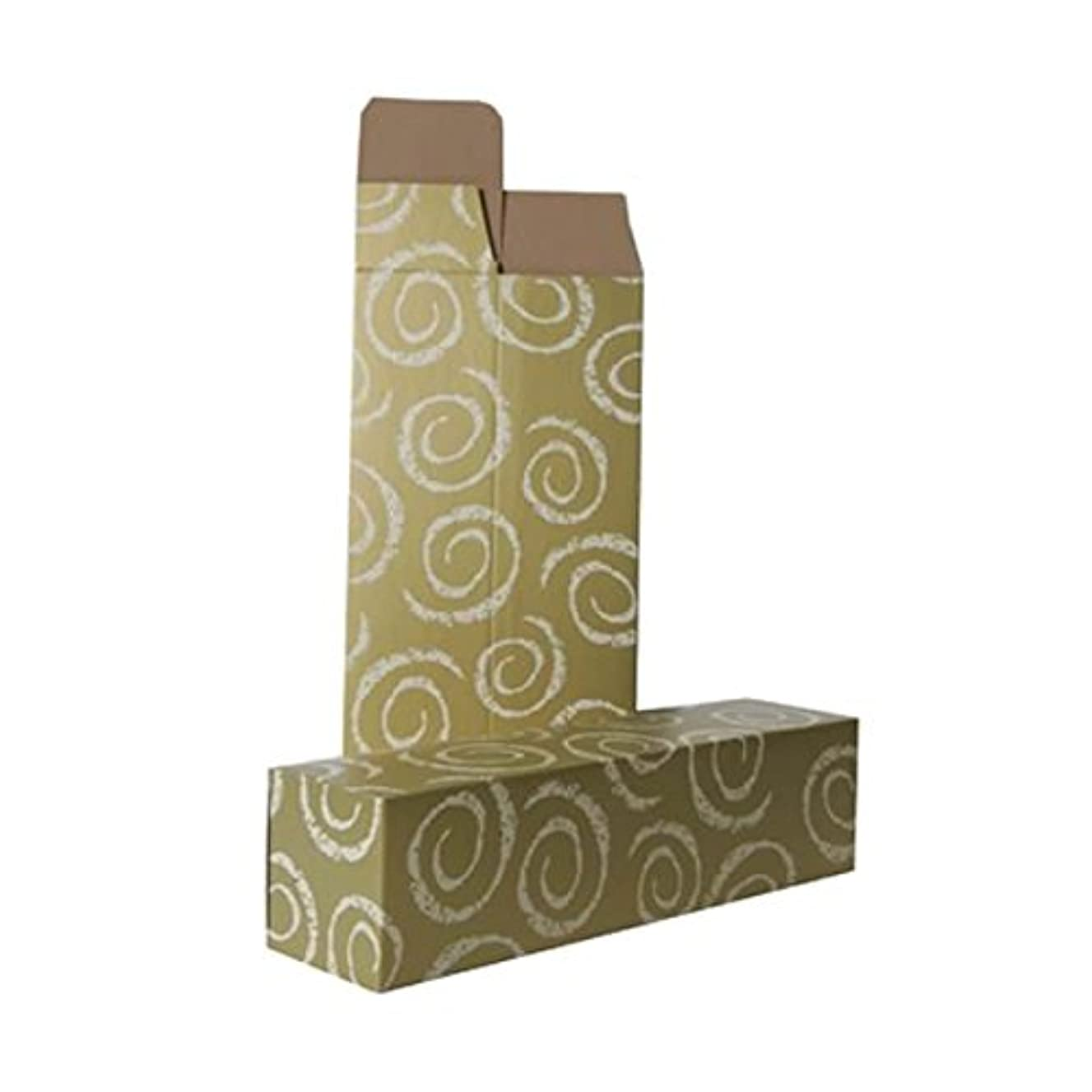 JAM PAPER Wine Boxes - 3 1/4 x 3 1/4 x 13 1/4 - Gold with White Swirls - 6/Pack