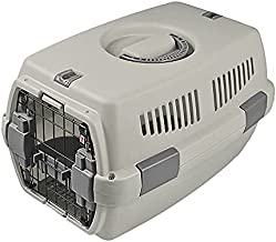 TNZMART Portable Pet Airline Box Plastic Hard-Sided Pet Carrier Crate Heavy-Duty Outdoor Dog Kennel (Grey)