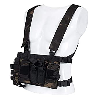 Trido Chest Rig Tactical Airsoft,Molle Multicum Paintball Rigs Police Pistol Harness Holster Holder Bag Vest for Men Hunting Training