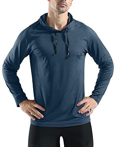 Rdruko Men's Athletic Sports Hoodies Lightweight Pullover Training Hooded Sweatshirts(Blue, US L)