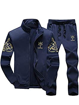 PASOK Men s Casual Tracksuit Full Zip Running Jogging Athletic Sports Jacket and Pants Set Blue 2XL