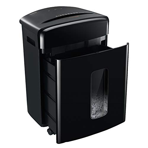 Bonsaii Aktenvernichter für Office und Home, Sicherheitsstufe P-4, 20 Blatt Kreuzschnitt Papierschredder für Papier Kreditkarten Heftklammern mit 25L Auszugskorb, 20 Minuten Laufzeit, Schwarz (C222-A)