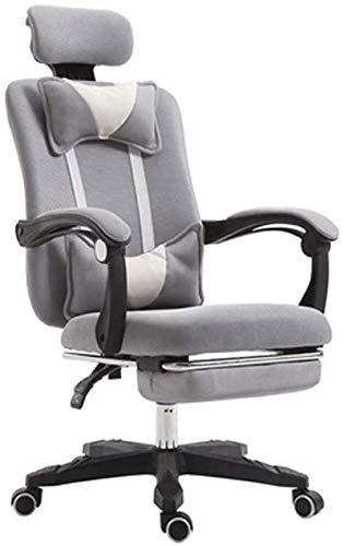 Computerstuhl Gaming Stuhl High Back Ergonomische Einstellbare Racing Stuhl Executive-Computer Stuhl Kopfstütze und Rückenstütze mwsoz (Farbe : Gray)