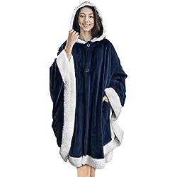 top 10 wearable hooded blanket PAVILIA Angel Wrap Blanket Hooded   Soft Sherpa Flea Slap Poncho Blanket   Plush, Warm,…