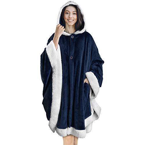 PAVILIA Angel Wrap Hooded Blanket | Poncho Blanket Wrap with Soft Sherpa Fleece | Plush, Warm,...