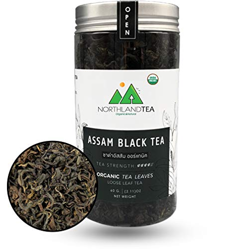 USDA Organic Assam Black Tea -Single origin- Whole Leaf Hot & Iced Tea, Kombucha, Milk Tea, Lemon Tea, Bubble Tea - World friendly tea - Freshest production in every month - 70g (2.46oz) Northlandtea