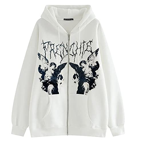 Women Oversized Y2K Vintage Zip Up Hoodie Long Sleeve Drawstring Hooded Sweatshirt 90s Aesthetic Shirts with Pockets (White, Medium)