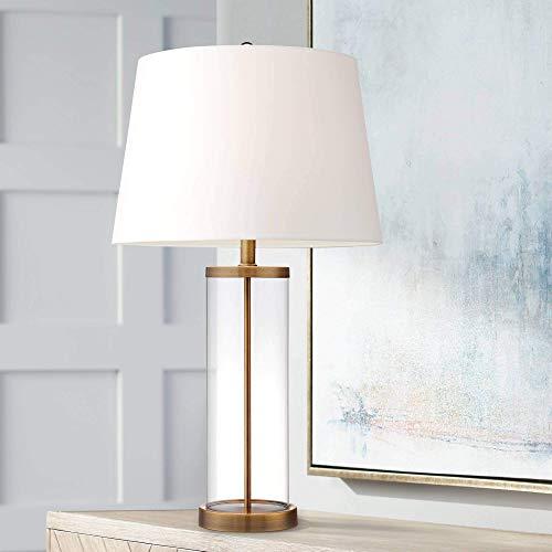 Dr.Sprayer Tischlampe Coastal Familienschlafzimmer Nachttisch-360 beleuchtete Küstentischlampe Glaszylinder Gold kann mit wei?en Trommel Schatten gefüllt Werden