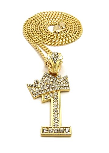 Shiny Jewelers USA Mens ICED Out Number 1 to 9 Pendant 3mm/ 24' Cuban Chain Necklace (1 - Gold)