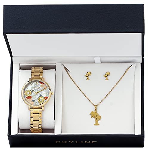 SKYLINE, Conjunto de Accesorios para Mujer, Reloj de Pulsera, Collar y Pendientes con Diseño de Palmera, Acero Inoxidable, Cumpleaños, Aniversario, etc, Color Dorado