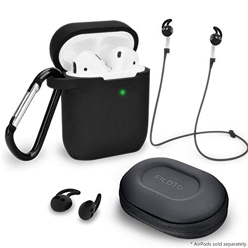 Airpods Accessories Set, Filoto Airpods Waterproof Silicone Case Cover with Keychain/Strap/Earhooks/Accessories Storage Travel Box for Apple Airpods 2&1, Best Gift for Your Airpod (Black)