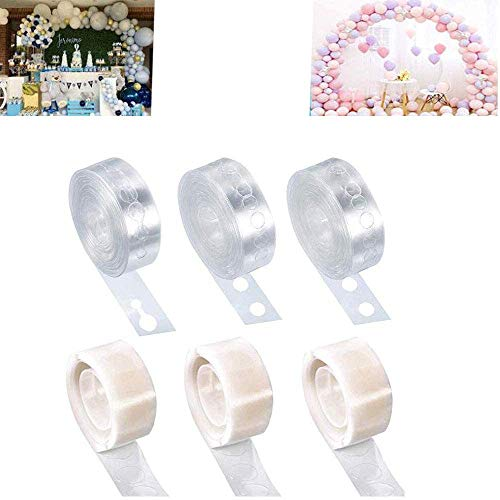 Balloon Arch Strip Tape and Glue Dots Kit,3 Roll 16 Feet Double Hole Easier Use Balloons Decorating Garland Strips Tapes and 300 Glue Point Stickers for Party,Wedding,Birthday Party Decoration