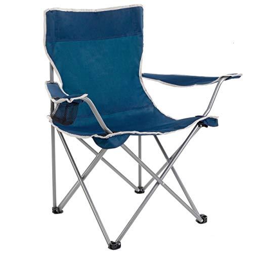 Anaterra Falt-/Campingstuhl, mit Getränkehalter und Armlehne, leicht und robust, blau