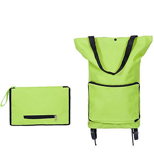 KDMB Einkaufstrolley Klappbar Faltbar,2 Wheel Trolley Handwagen Klappbar Klein 30 Liter Einkaufswagen Wagen Einkaufstasche Stabiler Abnehmbare Tasche Shopper(Deluxe Green)