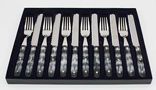Goodwell Besteck in vielen Farben, Messer und Gabel Set (12 Teilig) im Etui mit Wellenschliff (Marmor)
