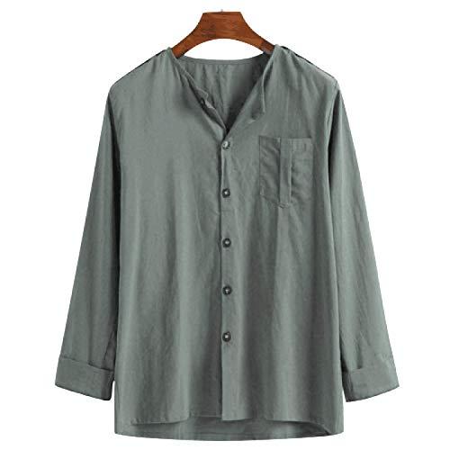 Camisa de Manga Larga para Hombre Color sólido Casual Cómoda Moda Simple Camisa básica Suelta de un Solo Pecho con Bolsillo 4XL