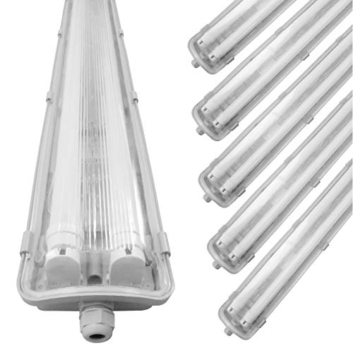 proventa® LED-Feuchtraumleuchte 120 cm, Sparset mit 6 Stück, mit je 2 LED-Röhren, IP65, 4.000 K, 36 W, 3.600 Lumen, Kunststoff grau, Energieklasse A+