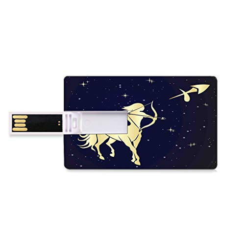 4 GB USB-Flash-Thumb-Laufwerke Sternzeichen Schütze Bank Kreditkarte Form Business Key U Disk Memory Stick Speicher Sternennacht mit Sternbild Silhouette eines Zentauren,Dunkelblau und Hellgelb, Perso