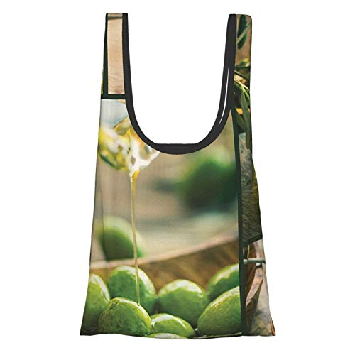 T-shop Kitchen Freshly Harvested Olives Oil Bottles On Wooden Table Healthy Ripe Natural Organic Green Yellow Reusable Fold Eco-Friendly Shopping Bags