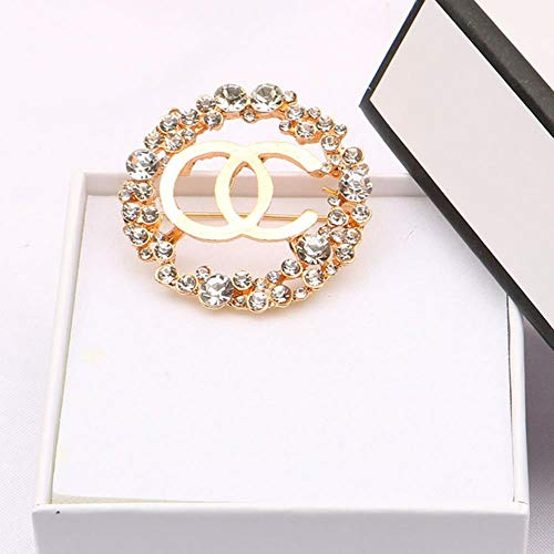 Lady Pins and Brooch Vintage Crystal Rhinestone Cc Brooches Pin Channel Brooch Pins Large Pearl Broche for Women,Silver Plated