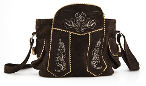 Almrausch Damen Trachten-Handtasche, Dirndl-Tasche fürs Oktoberfest aus Leder, dunkelbraun, mit Reißverschluss