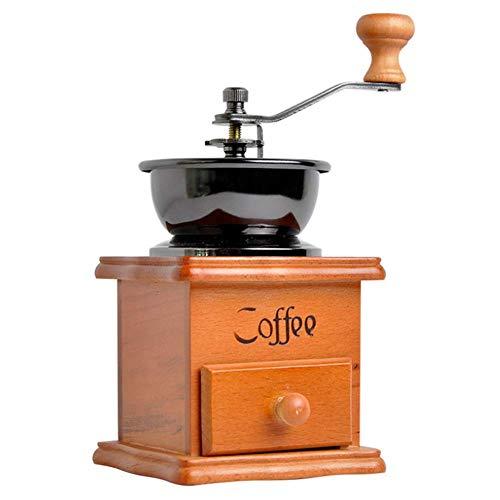 LYYJIAJU Handmatige Koffie Grinder,Hand Crank met Houten Basis met Lade Koffie Bean Molen Vintage Antieke Stijl, Perfect voor Thuis, Kantoor, Reizen