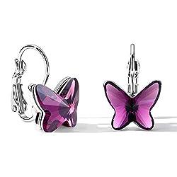 Purple Crystal Butterfly Lever Back Earring