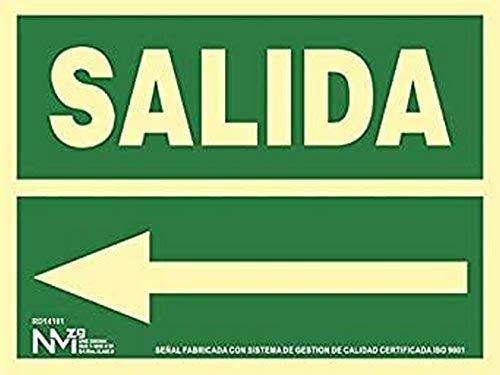 Normaluz RD14101 - Señal Luminiscente Salida Izquierda Clase B PVC 0,7mm 22,4x30cm con CTE, RIPCI Nueva Legislación, Verde