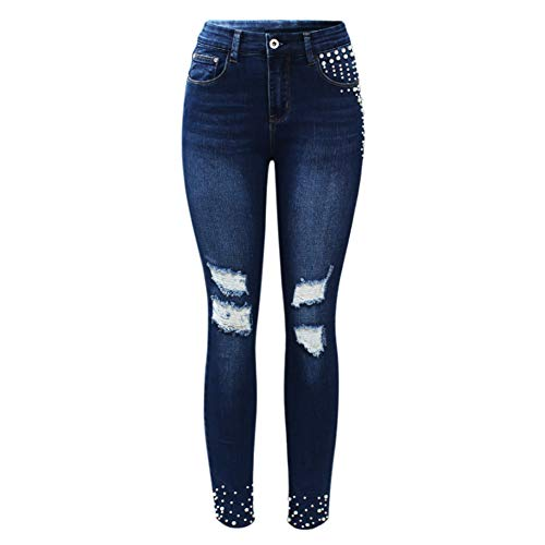 Vintage Pearl Studded Jeans Women`s Mid High Waist Stretch Ripped Denim Skinny Pants Jeans for Women XXL