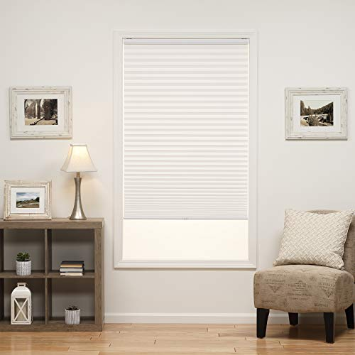 DEZ Furnishings QDWT340640 Cordless Light Filtering Pleated Shade, 34W x 64L Inches, White